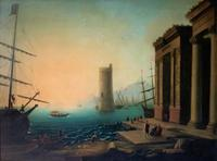 After Claude Lorrain Huge Superb 19th Century Venice Seascape Oil Painting (10 of 22)
