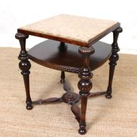 Marble Oak Side Table Continental Queen Anne (4 of 10)