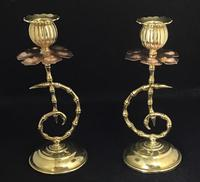 Pair of Arts and Crafts Brass and Copper Benson Style Candlesticks (4 of 7)