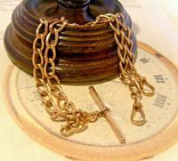 Victorian Pocket Watch Chain 1890s Antique 12ct Rose Rolled Gold Albert With T Bar
