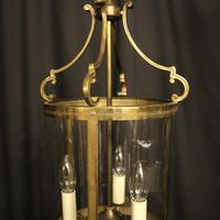 French Convex Gilded Brass Triple Light Antique Hall Lantern (4 of 10)