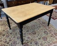 Antique Victorian Pine Farmhouse Table with Drawer (4 of 16)
