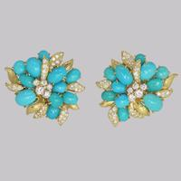 Vintage Julius Cohen Cluster Earrings Turquoise & Diamond 1960s Flower Earrings (2 of 12)