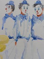 Watercolour Clowns with Tellow Balloons Listed Irish Artist Judith Caulfield Walsh (4 of 10)