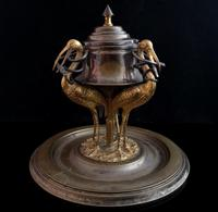 Antique French Inkwell, Storks & Snakes (9 of 12)