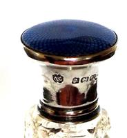 Cut Glass Scent Bottle with Silver and Blue Guilloche Enamel Top (4 of 5)