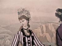 Antique Victorian 3-D Fashion Picture, Textile And Print, Original Frame, 1877 (5 of 8)