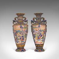 Pair Of Tall Antique Satsuma Vases, Japanese, Ceramic, Decorative, Moriage, 1900 (9 of 12)