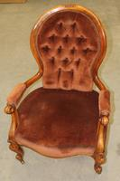 1910s Mahogany Daddy Armchair in Rust Upholstery