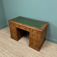 19th Century Victorian Oak Antique Pedestal Desk (5 of 7)