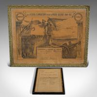 Antique Pair of Framed Certificates, French, Award of Honour, WW1 c.1918 (6 of 9)