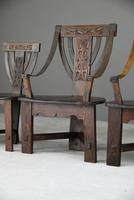6 Arts & Crafts Carved Oak Chairs (8 of 12)