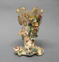 Samuel Alcock Flower Encrusted Cornucopia Vase c.1830-1835 (4 of 6)