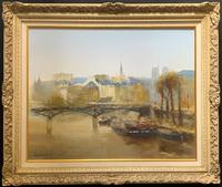 Huge Magnificent Vintage Continental River Cityscape Impressionist Oil Painting