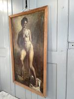 Antique Nude Oil Painting Portrait of Seated Figure by Alys Woodman RBSA (7 of 10)
