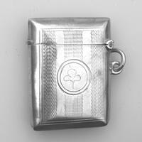 Irish Interest - Attractive Solid Silver Vesta Case - Shamrock c.1903 (2 of 5)