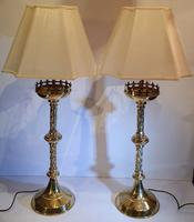 19th Century Gothic Brass Candlesticks Polished & Converted to Table Lamps (2 of 5)