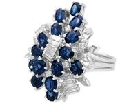 5.25ct Sapphire & 1.33ct Diamond, 14ct White Gold Cocktail Ring - Vintage c.1970 (3 of 9)