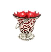 Antique Victorian Sterling Silver & Cranberry Glass Basket 1855 (8 of 11)