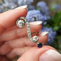 Antique Edwardian 15ct Gold Diamond & Sapphire Upfinger Dress Ring (5 of 12)