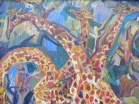 Large oil on board Giraffes in the park listed artist Henry Sanders (8 of 11)
