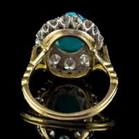Antique Edwardian Turquoise Diamond Cluster Ring Platinum 18ct Gold 2ct of Diamond c.1905 (6 of 8)