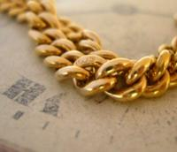 Antique Pocket Watch Chain 1890s Victorian Large 14ct Gold Filled Albert With T Bar (6 of 12)