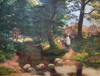 John Barter Lovely 19th Century Oil Painting 'Crossing the Stones' (2 of 14)