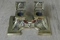 Fine Austrian German Jugendstil  Art Nouveau Double Brass Inkwell c.1905 (3 of 9)