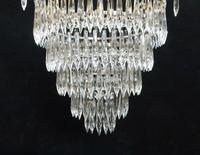 Italian Art Deco Five Tier Crystal Glass Chandelier, 1930s (6 of 7)