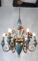 Large Vintage French 6 Arm Polychrome Toleware Ceiling Light Chandelier (15 of 16)