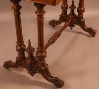 Super Quality Victorian Burr Walnut & Marquetry Card Table (8 of 12)