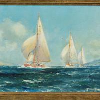 Pair of Oil Paintings of Clyde One Design Yachts Racing by Frank Henry Mason (4 of 12)