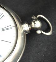 Antique Silver Pair Case Pocket Watch Fusee Verge Escapement Key Wind Enamel Dial (10 of 10)