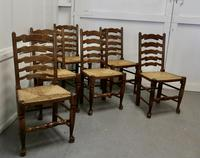 Good Set of 6 Farmhouse Ladder Back Dining Chairs (2 of 6)