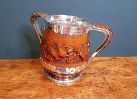 Large Antique Oak Carved Silvered Loving Cup (2 of 8)