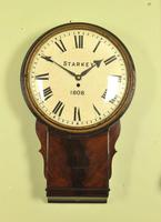 Early Large Convex Wooden Dial Clock