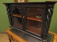 Antique Victorian Gothic Black Painted Curio Display Cabinet (12 of 13)