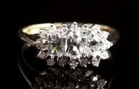 Vintage Aquamarine and Diamond Three Stone Cluster Ring, 9ct Gold (6 of 12)