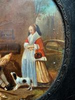 After: Gabriel Metsu (1629-1667) 'The Game Seller' 19thc Miniature Oil Painting (7 of 12)