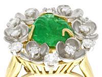 2.42ct Emerald & 0.95ct Diamond, 18ct Yellow Gold Dress Ring - Antique c.1920 (9 of 9)