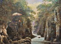 Small Original 19th Century Victorian Woodland River Landscape Oil Painting (9 of 12)