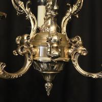 Italian Silver Gilded Triple Light Chandelier (8 of 10)
