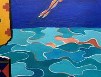 20th Century - British - Contemporary - Abstract Oil Painting of Naked Diver (7 of 11)