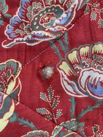 Antique French cotton double quilt eiderdown with red floral pattern (8 of 10)