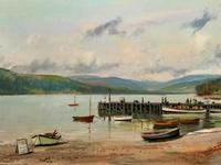 'The Lake District' Exceptional Vintage Seascape Oil On Canvas Painting c1960' (5 of 12)