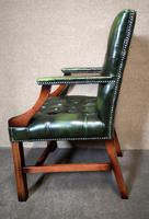 Green Leather Georgian Style Chesterfield Gainsborough Library / Office Chair (5 of 8)