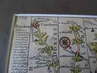 """18thC Road Map Dorset """" Dunkton - Weymouth"""" c1720 Britannia Depicta (4 of 5)"""