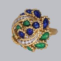 Vintage Diamond and Blue & Green Enamel Ring 18ct Gold Bombé Ring (3 of 21)