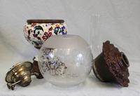 Antique Pottery Oil Lamp & Shade Globe (10 of 12)